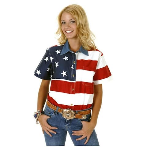 Roper Western Shirt Womens S/S USA Flag Button Red