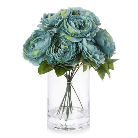 Enova Home Silk Peony Arrangement in Glass Vase With Faux Water For Home Decoration