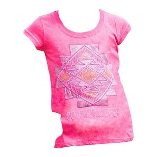 Cowgirl Tuff Western Shirt Girls Short Sleeve Scoop Tee Pink S00851