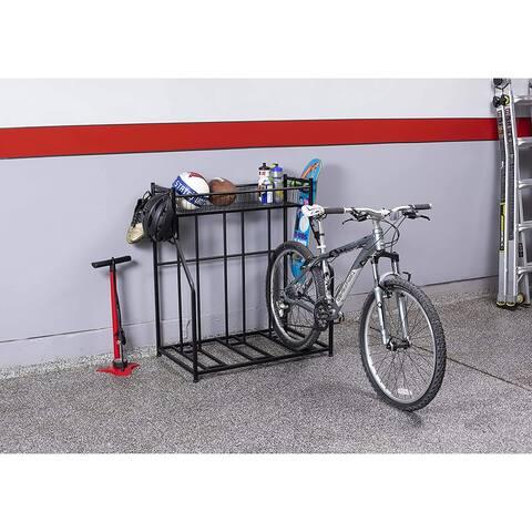 BirdRock Home 3 Bike Stand Rack with Storage - Metal Floor Bicycle Nook - Road, Mountain, Hybrid or Kids Bikes - Black