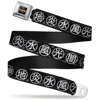 Yu Gi Oh! Logo Full Color Black Fade Gold Yu Gi Oh! Attribute Kanji Symbols Seatbelt Belt
