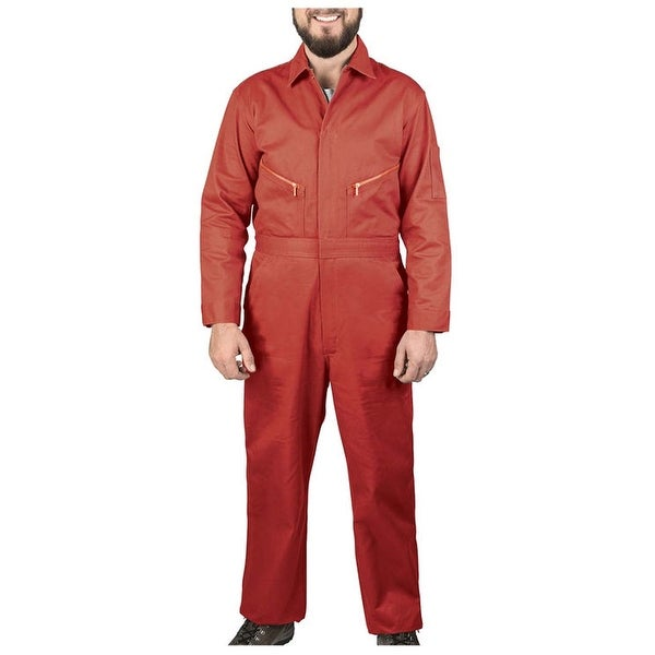 Walls Mens Red 58 X-Tall Long Sleeve Cotton Non-Insulated Coverall