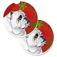 Bulldog English Red & Green Snowflakes Holiday Christmas Set of 2