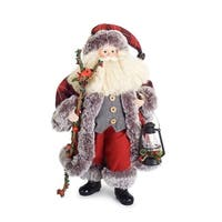 """20"""" Vibrant Colored Santa Claus with Tea Light Candle Lantern Christmas Table Top Figure - WHITE"""