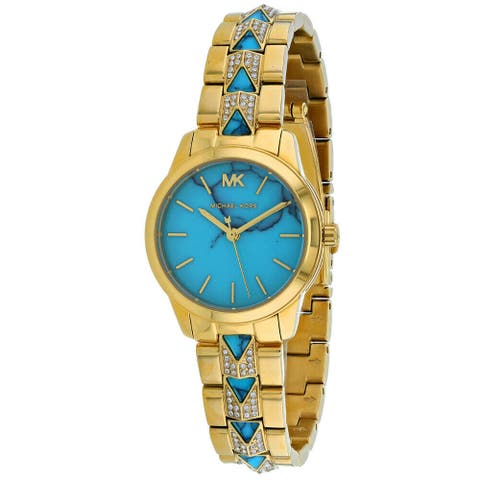 Michael Kors Women's MK6673 Runway Mercer Gold and Blue Stainless Steel Watch - One Size