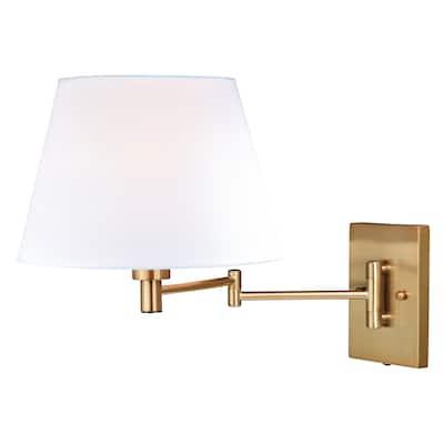 Chapeau Plug-In Brass Cone Motion Sensor Swing Arm Wall Lamp White Linen Shade - 12-in W x 13-in H x 22.25-in D