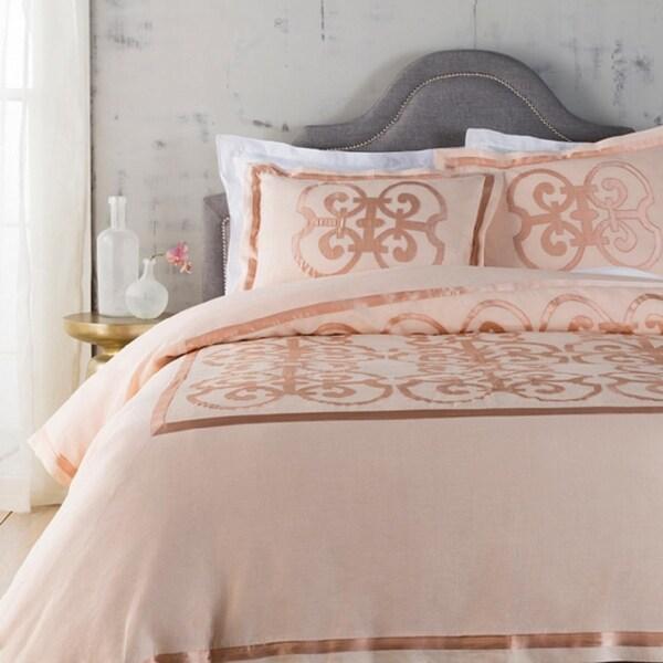 Peach and Cantaloupe Orange Royalty Decorative Linen King Bedding Set