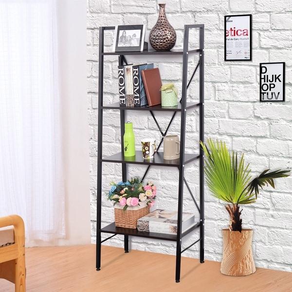 Costway 24x27x27 Wide 4 Tier Ladder Bookshelf Bookcase Storage