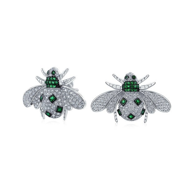 91111260d Shop Cubic Zirconia Pave Green White CZ Queen Bumble Bee Stud Earrings For  Women 925 Sterling Silver Imitation Emerald - On Sale - Free Shipping On  Orders ...