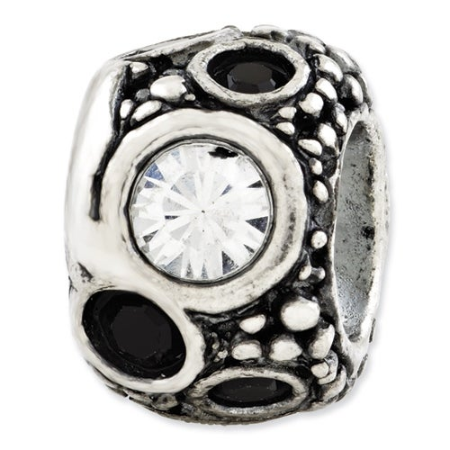 Italian Sterling Silver Reflections Black & White Swarovski Elements Bead
