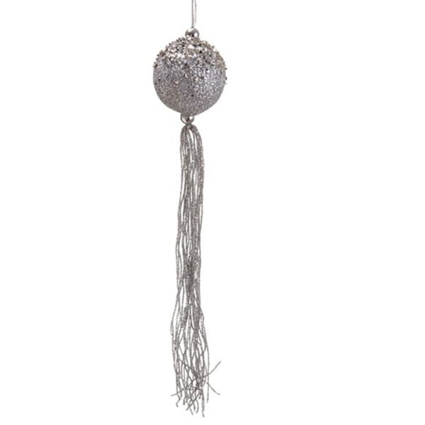 "12"" Seasons of Elegance Silver Glitter Christmas Ball Ornament with Tassels"