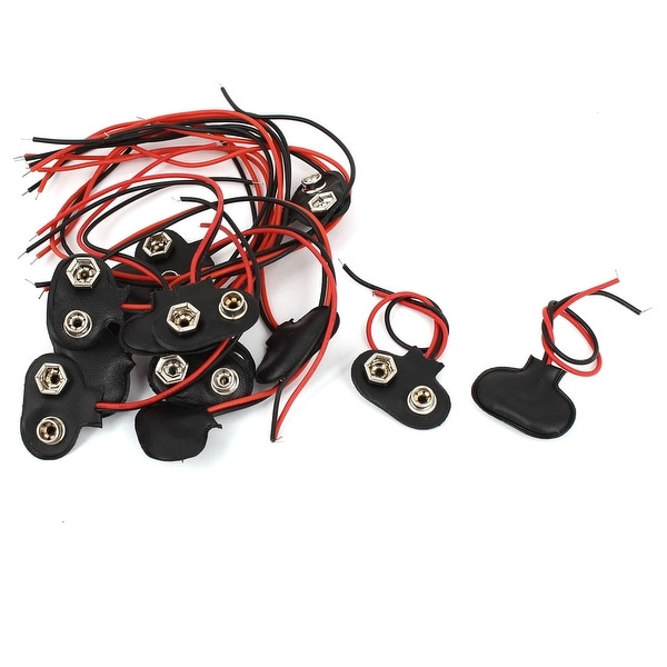 15 Pcs Faux Leather Shell Wire Lead 1.5V Battery Snap Clip Connector