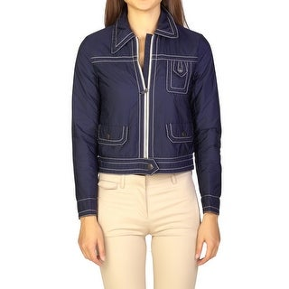 Prada Women's Nylon Trucker Jacket Navy Blue