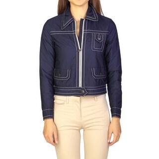 Prada Women's Nylon Trucker Jacket Navy Blue