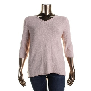 Two by Vince Camuto Womens Plus V-Neck Chiffon Back Pullover Sweater