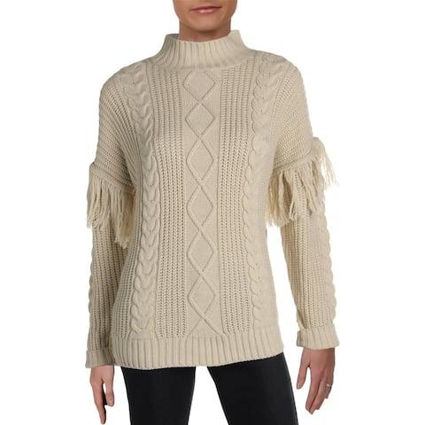 RD Style Womens Sweater Mockneck Fringe - White Beach