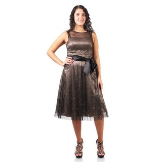 Jessica Howard Illusion Neck Glitter Fit and Flare Dress Black 16