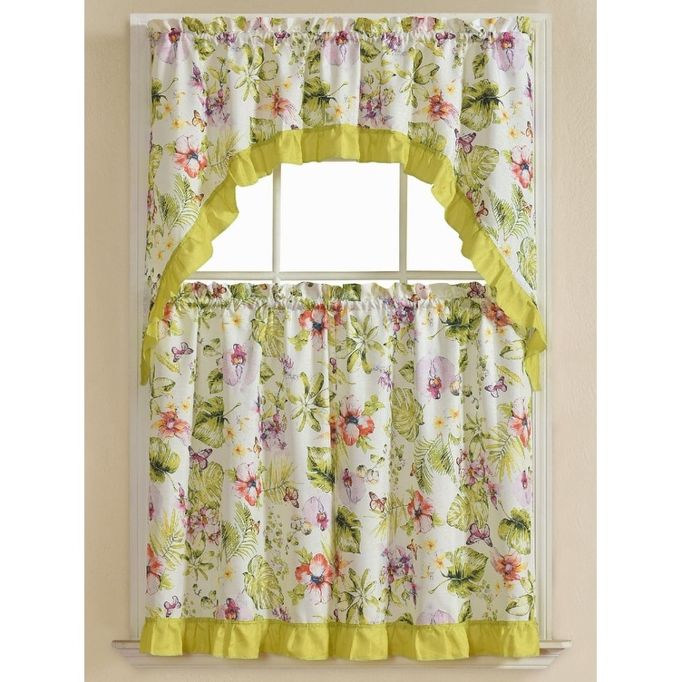 Nahal 3 Piece Printed Kitchen Curtain Set Green Tiers 30x36 Swag 60x36 Inches