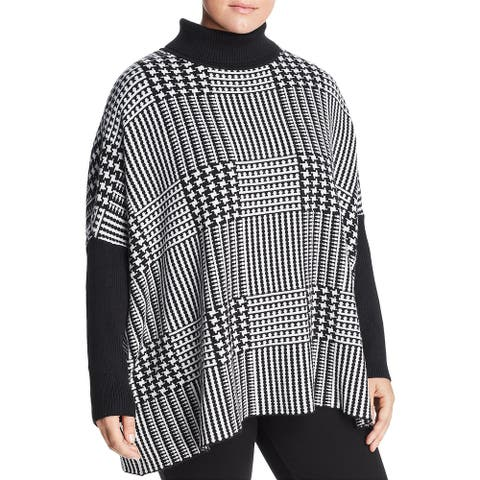Joseph A. Womens Plus Pullover Sweater Turtleneck Printed - Black/Winter White - 3X