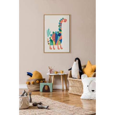 Kate and Laurel Sylvie Mid Century Modern Dino Framed Canvas by Rachel Lee of My Dream Wall