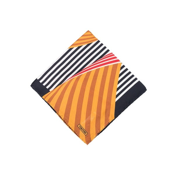 Tom Ford Orange Multi Color Abstract Stripe Silk Pocket Square