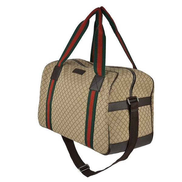 ccd1bd116a39 Shop Gucci Diamond Web Detail Canvas Travel Duffel Bag - Free ...