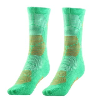 Adult Unisex Breathable Sports Stockings Running Jogging Hiking Socks Green Pair