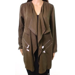Dex NEW Green Womens Size Medium M Military Open Front Draped Jacket