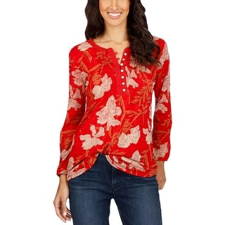 Lucky Brand Womens Henley Top Floral Print Knit - s