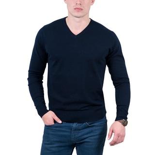 Real Cashmere Navy Blue V-Neck Cashmere Blend Mens Sweater