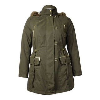 INC International Concepts Women's Faux Fur Anorak Coat (L, Night Moss) - L
