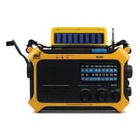 KAITO KA550 Weather Emergency Radio - Yellow Hand Crank Solar Powered Rechargeable AM/FM Shortwave NOAA Weather Alert