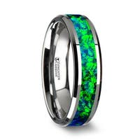 THORSTEN - PHOTON Tungsten Wedding Band with Beveled Edges and Emerald Green & Sapphire Blue Color Opal Inlay - 6mm