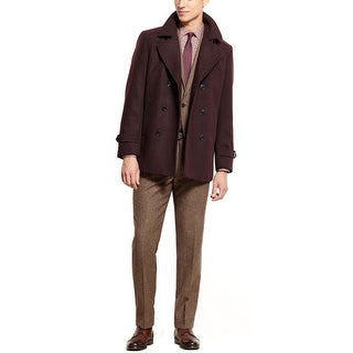 Bar III Carnaby Collection Slim Fit Burgundy Peacoat 44 Long 44L Coat Jacket