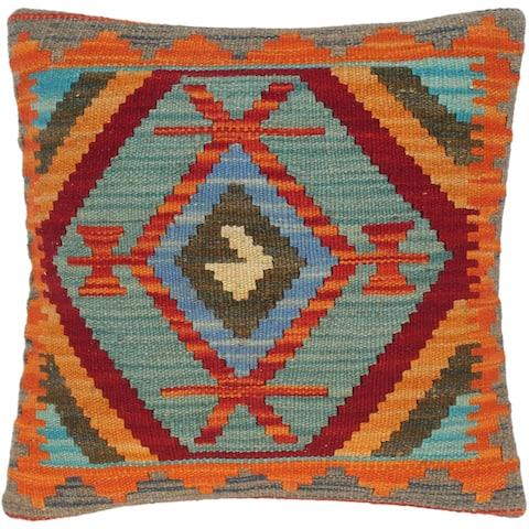 Bohemian Sandra Hand-Woven Turkish Kilim Throw Pillow 16 in. x 16 in.