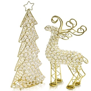 "Link to HomeRoots 2.5"" x 8"" x 14"" Gold/Crystal - Reindeer Similar Items in Christmas Decorations"