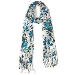 Women's Fashion Floral Soft Wraps Scarves - F1 Blue