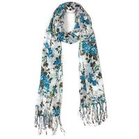 Women's Fashion Floral Soft Wraps Scarves - F1 Blue - Large