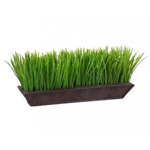 Allstate Floral LPG324-GR 6 in. Hx13 in. W Grass in Rectangular Tin Planter Green - Pack of 6