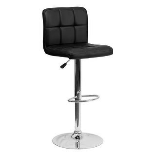 Offex Contemporary Black Quilted Vinyl Adjustable Height Bar Stool with Chrome Base [OF-DS-810-MOD-BK-GG]
