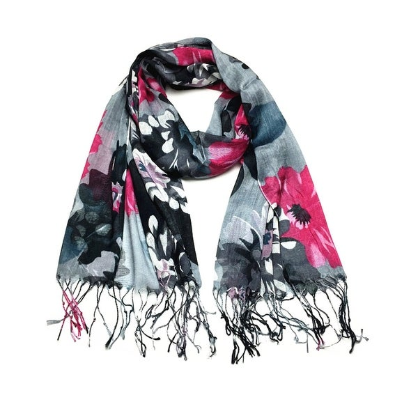 Women's Fashion Floral Soft Wraps Scarves - F2 Black Hotpink