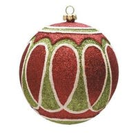 "Red, Green and White Jolly Christmas Glitter Shatterproof Ball Ornament 4"" - Red"