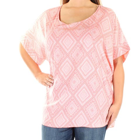 ING Womens Coral Printed Short Sleeve Scoop Neck Top Plus Size: XL