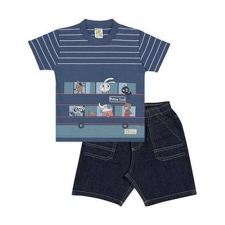 Baby Boy Outfit Infant Striped Shirt and Shorts Set Pulla Bulla 6-12 Months