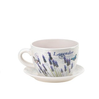 Lavender & Butterfly Theme Teacup & Saucer Planter