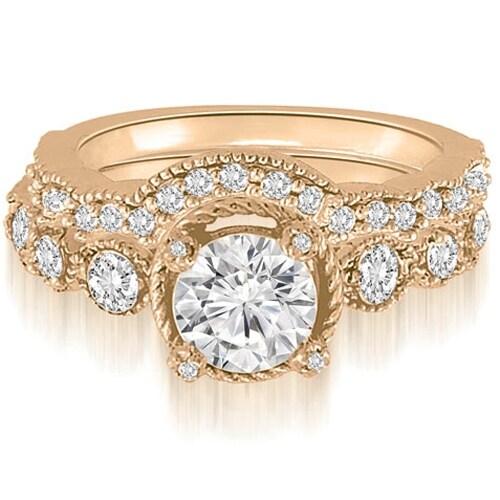 1.80 cttw. 14K Rose Gold Antique Milgrain Round Cut Diamond Bridal Set