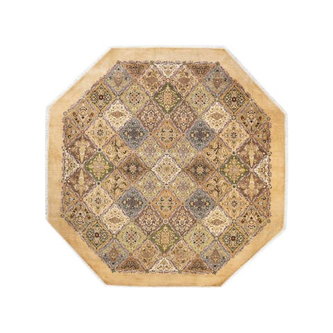 """Mogul, One-of-a-Kind Hand-Knotted Area Rug - Yellow, 8' 1"""" x 8' 1"""" - 8' 1"""" x 8' 1"""""""