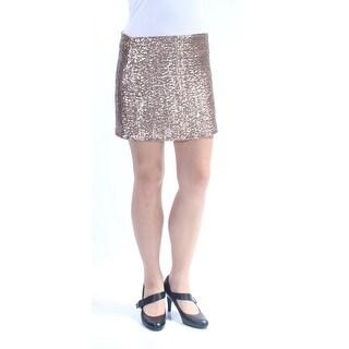 CHELSEA SKY $98 Womens 1294 Gold Mini Casual Skirt M B+B