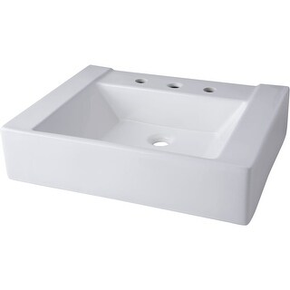 "Mirabelle MIR24198A 24"" Porcelain Console Bathroom Sink Only with 3 Faucet Holes (8"" Centers) - White - N/A"