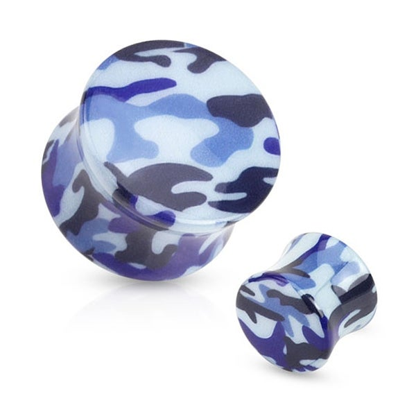 Blue Camouflage Printed Acrylic Saddle Fit Plug (Sold Individually)